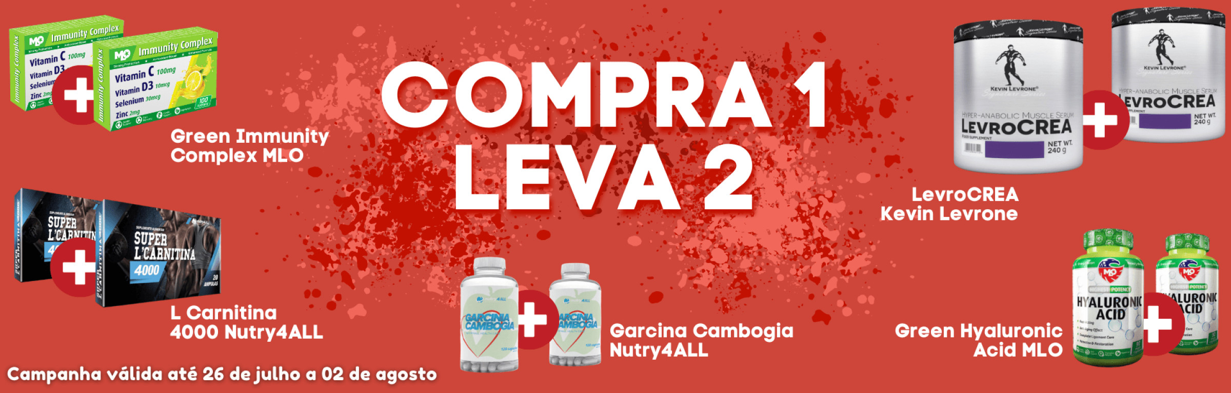Compra 1 Leva 2 - Nos produtos Green imunity complex MLO, Garcinia Camboja nutry4ALL, L Carnitina 4000 nutry4ALL, Green Hyaluronic Acid MLO, LevroCREA Kevin Levrone