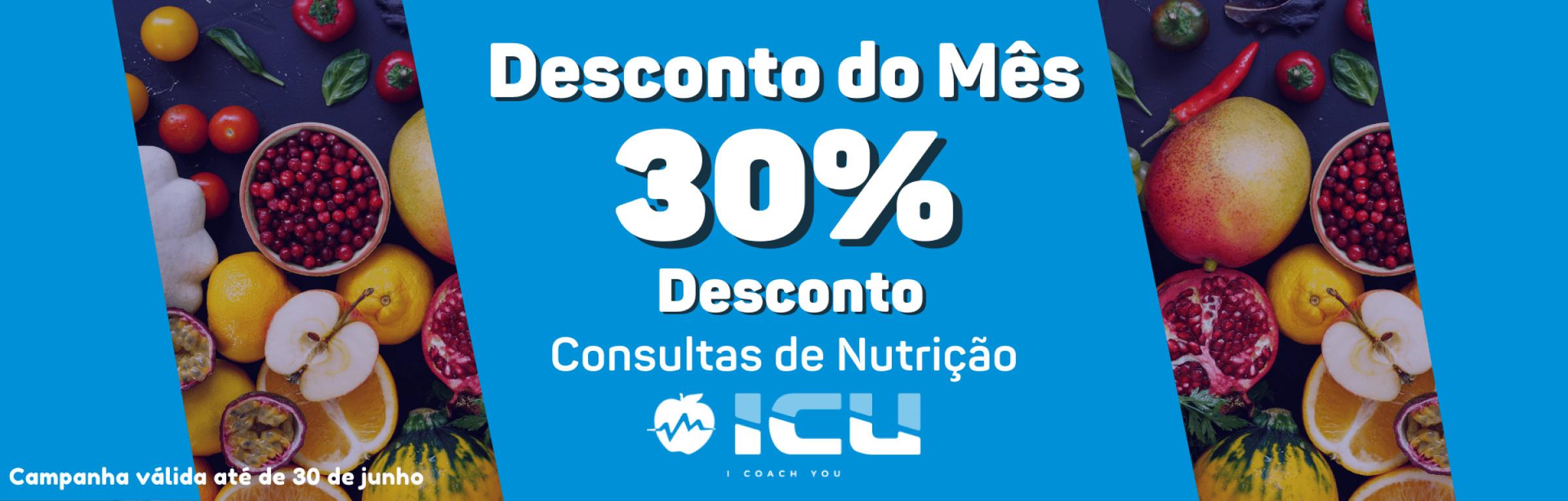 Desconto do Mês - Consultas de nutrição com 30% desconto